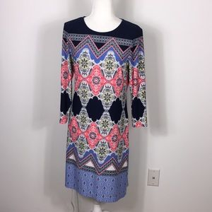 Donna Morgan Navy Blue and Pink Patterned Dress